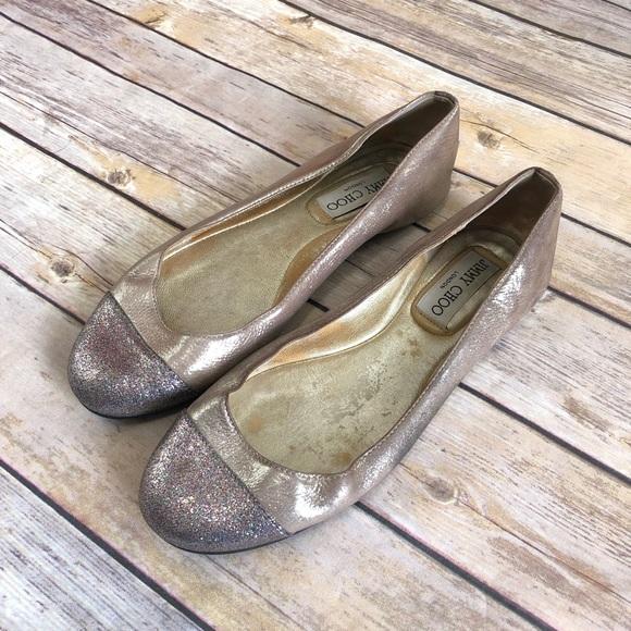 3d6488865b Jimmy Choo Shoes | Whirl Glitter Cap Toe Flats | Poshmark
